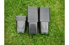 9CM (0.5 LITRE) BLACK SQUARE PLASTIC PLANT POT  - PRICED INDIVIDUALLY